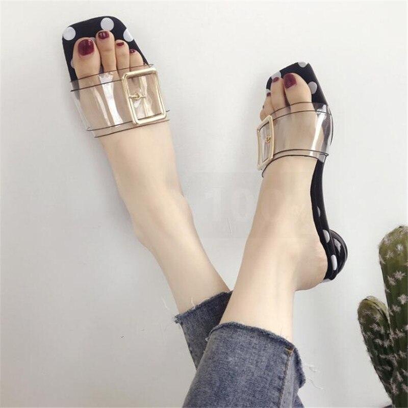2018 женская обувь Летние тапочки толстая подошва сандалии женские тапочки Прозрачные Сандалии пляжные шлепанцы женская повседневная обувь