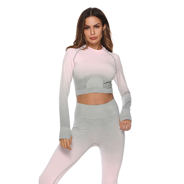 Women's Ombre Color Yoga Crop Top and Leggings Set  6 Colors  S-L