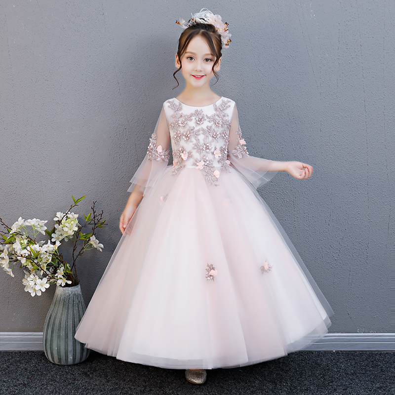 2018 Summer Autumn Fashion Children Girls Birthday Wedding Party Half Flare Sleeves Long Dress Teens Kids Piano Pageant Dress fashion polyester long sleeves dress black page 4