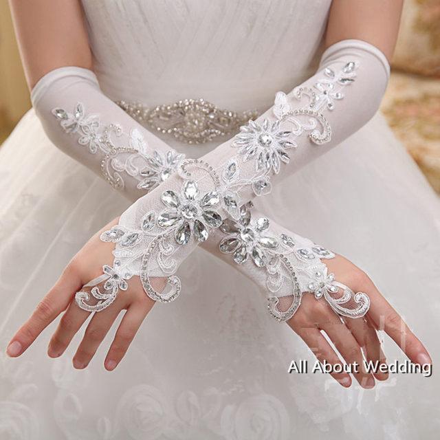 Cristal Frisado Luvas De Noiva Acessório Do Casamento Fingerless Longo Elbow