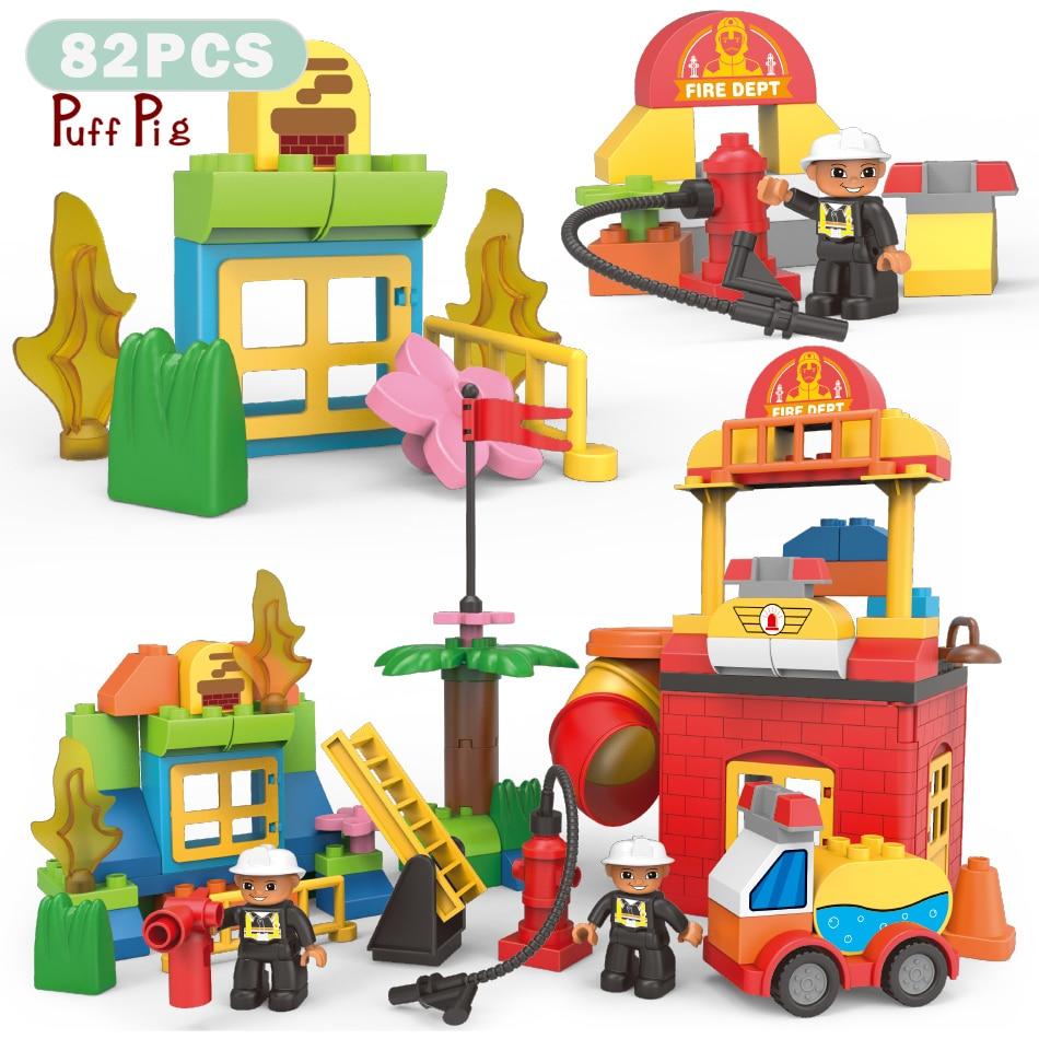 82pcs Duplo City Fire Station Firemen Figures Big Size