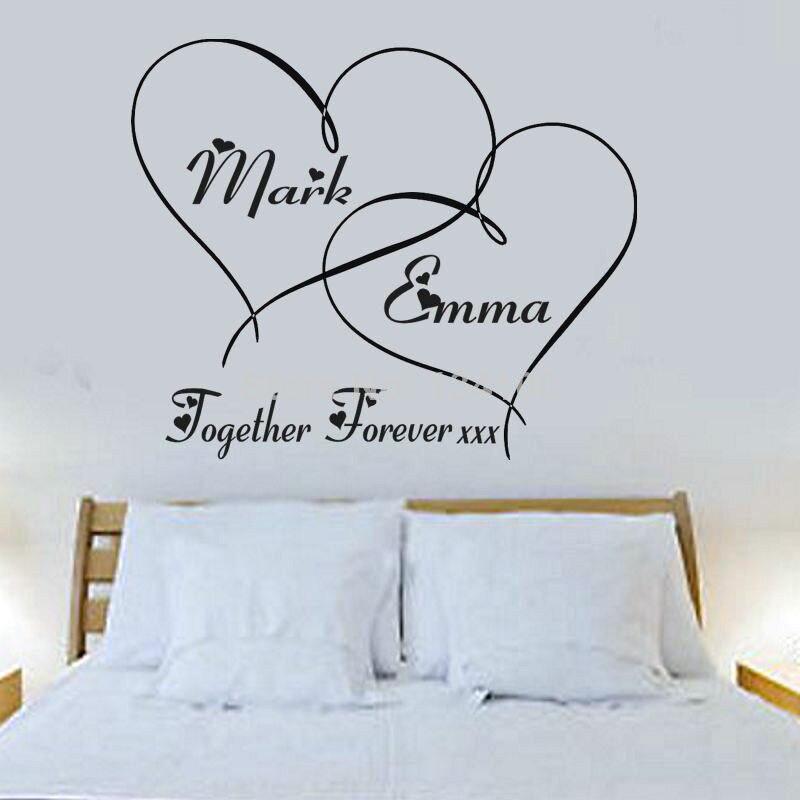 11 74 Autocollant Décalcomanie Peinture Murale Pour Chambre à Coucher Forever Coeurs Personnalisés Ensemble Vous Choisissez Le Nom Et Le Colo