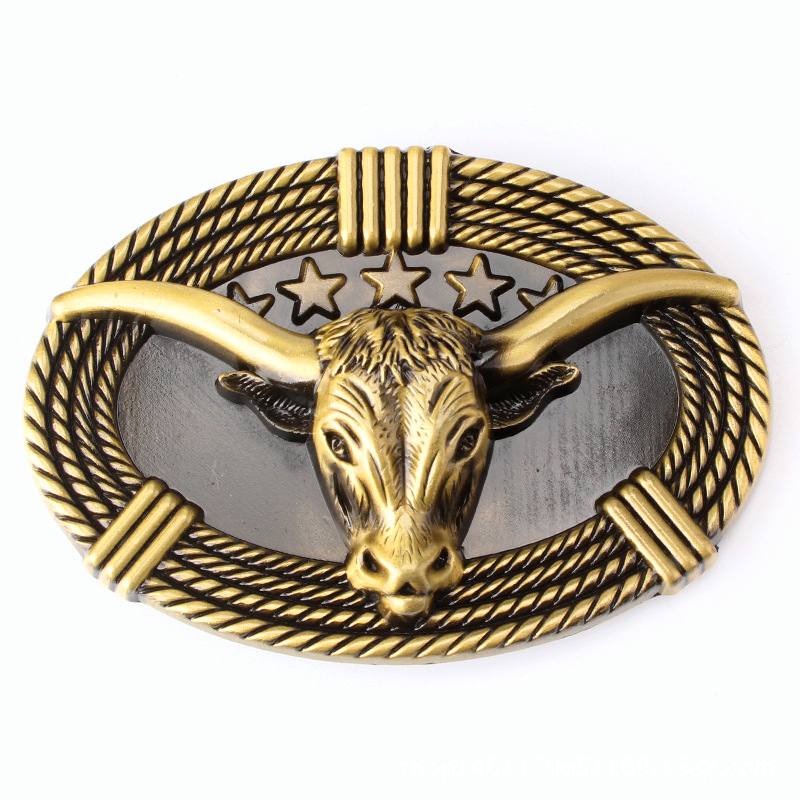 Skull Belt Buckle Longhorn Bull Rodeo Western Authentic White Wolf 24ct Gold