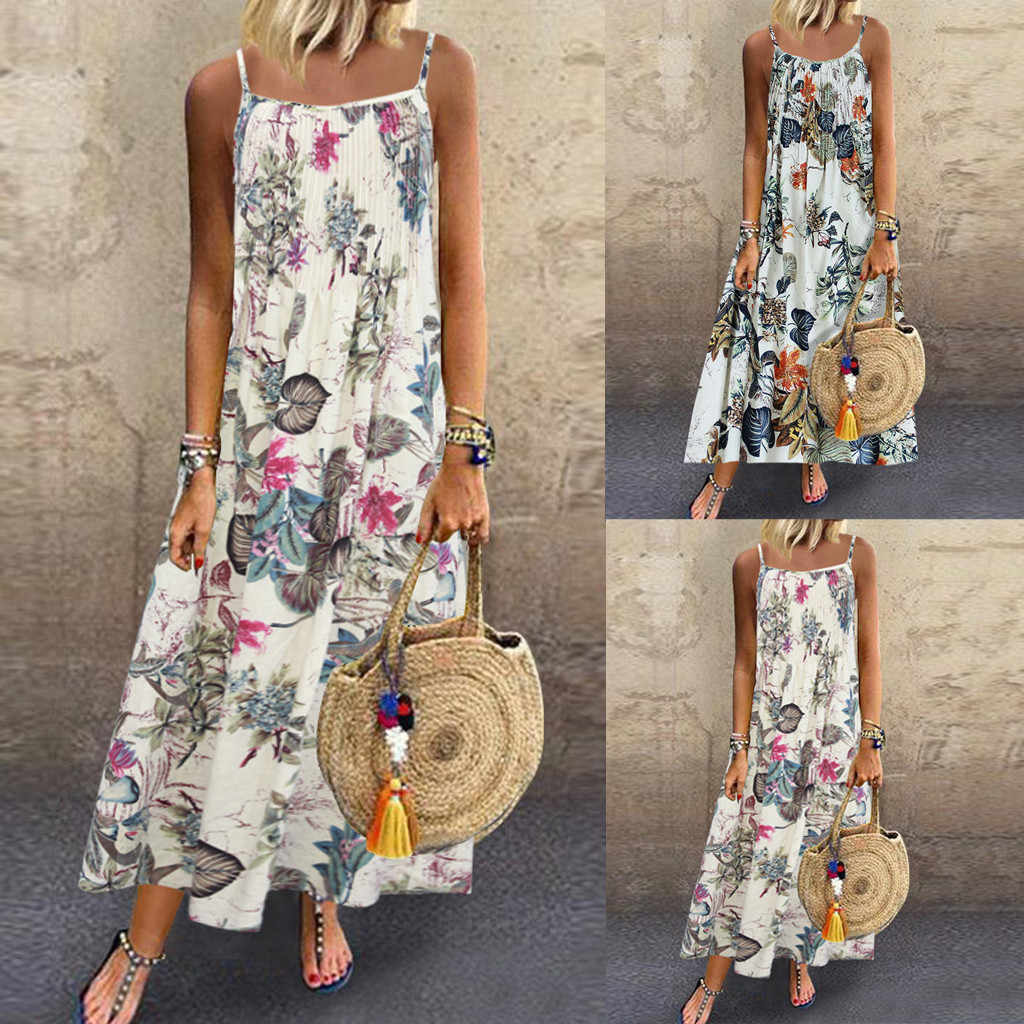 Women Dress 2019 Summer Fashion Dress Women Vintage Bohemian Print Floral Sleeveless O-Neck Straps Maxi Party Dress  #39