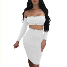 CWLSP Sexy Fashion Lettuce Edge Ribs Women Suits Two Piece Set Solid Strapless Cropped Top and Mini Skirt Set Suits QZ2332