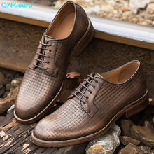 QYFCIOUFU Luxury Brand Summer mens shoes formal Handmade dress Footwear vintage Genuine Leather Mens Oxford Shoes