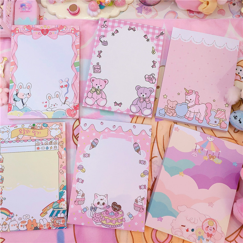 Cute Weekly Plan Sticky Notes Memo Pad Kawaii Stationery School Supplies Planner Label Paper Journal Stickers Supplie