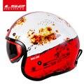 LS2 OF599 шлем Spitfire moto rcycle шлем jet винтажный шлем с открытым лицом Ретро 3/4 половина шлем casco шлем moto с 3 кнопками