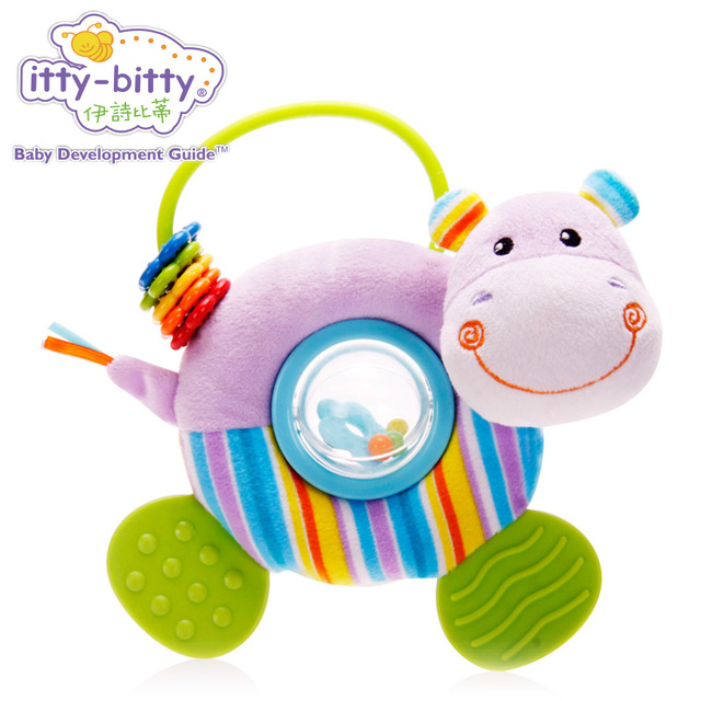 Itty Bitty Plush Cute Hippo Lion Teether Baby Rattles Game Comfort Crib Car Seat Stroller