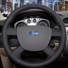 BANNIS Black Artificial Leather DIY Hand-stitched Steering Wheel Cover for Ford Focus 2 2005-2011