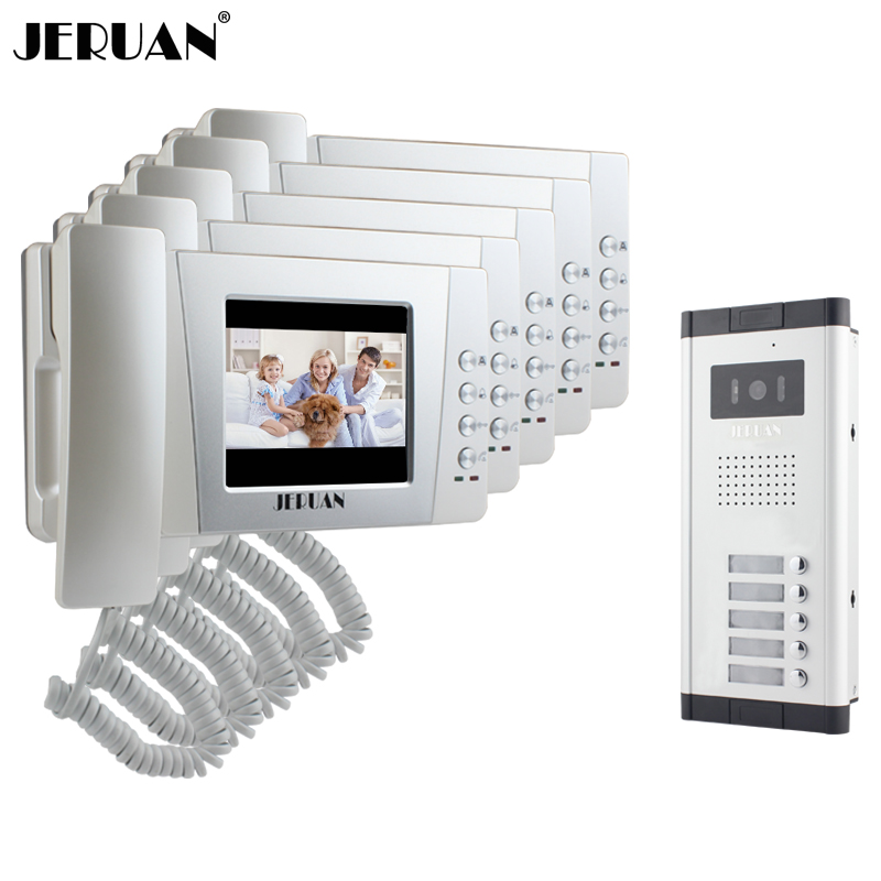 JERUAN Apartment 4.3 inch LCD color Video Door Phone Intercom System 5 Handheld Monitor 700TVL IR COMS Camera for 5 Call Button my apartment