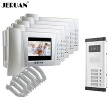 JERUAN Apartment 4.3 inch LCD color Video Door Phone Intercom System 5 Handheld Monitor 700TVL IR COMS Camera for 5 Call Button