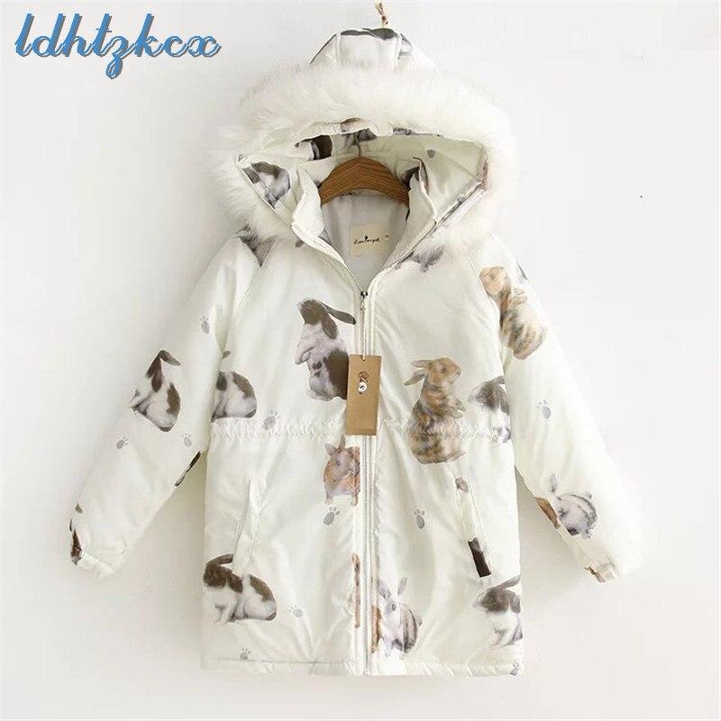LDHTZKCX Rabbit Cotton Hooded Coat Female 2018 Winter New Sweet Cute Zipper Pockets Japan Style Students   Parkas   LD586