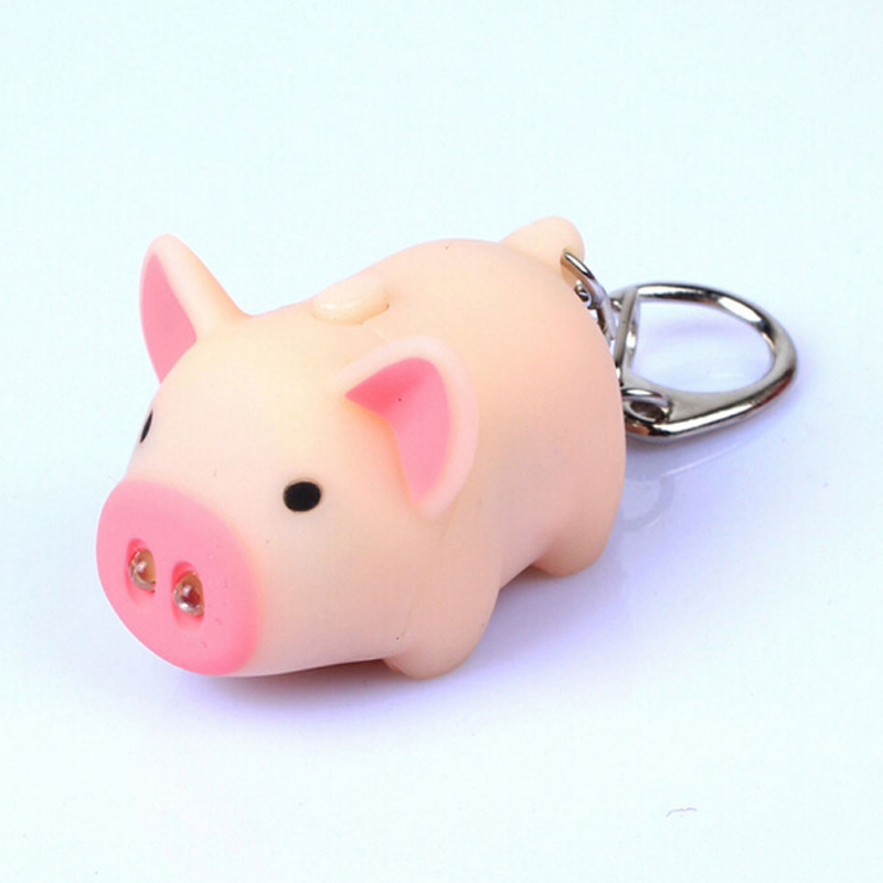 New LNRRABC Hot 3 Colors Cute Funny Pig Led Keychains Flashlight Sound Creative Kids Toys Light Key Rings Jewelry Llaveros cute pig style 2 led white light flashlight keychain w sound effect light pink 3 x ag10