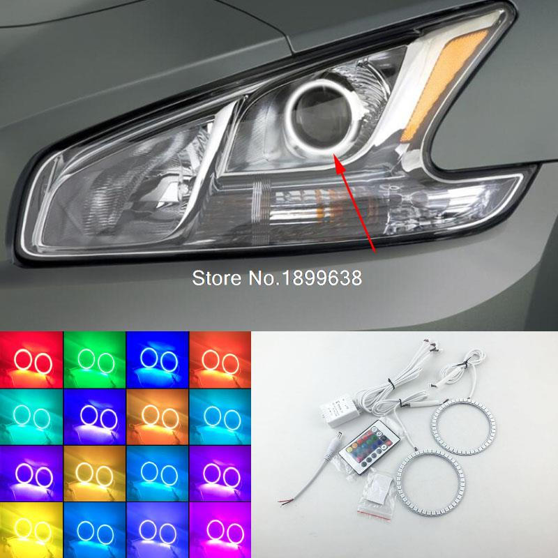 Super bright 7 color RGB LED Angel Eyes Kit with a remote control car styling for Nissan Maxima 2010 2011 2012 2pcs super bright rgb led headlight halo angel demon eyes kit with a remote control car styling for ford mustang 2010 2012