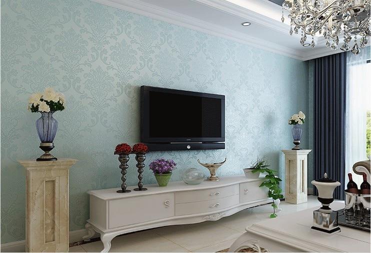 ... Fashion Blue Wallpapers 3D Non Woven Papel De Parede Flocking Glitter  Damask Wallpaper Living Room ... Part 68
