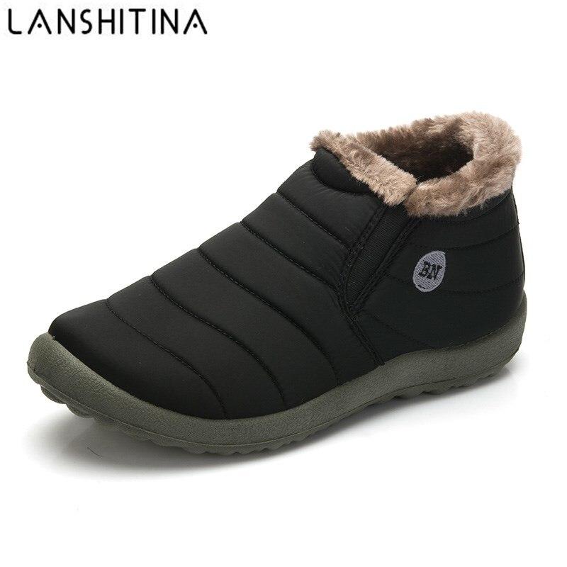 Новая мода Мужская зимняя обувь одноцветное Цвет зимние ботинки на меху Плюшевые Внутри на нескользящей подошве Удерживающие тепло водонепроницаемые лыжные ботинки размер 35-48