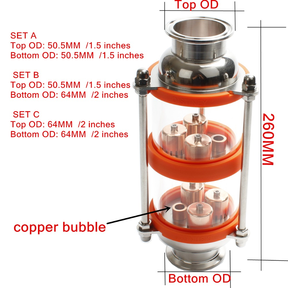 copper bubble Distillation Column with 2 section for distillation Glass column