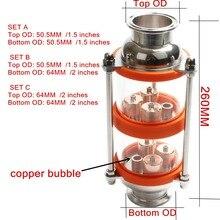 Медный пузырьковый дистилляционный столб с 2 секциями для дистилляции. Стекло колонка