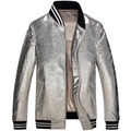 Brand 2017 New leather Jacket men Genuine sheep skin fashion/Slim/Casual jacket collar leather coats Silver 61Z6617
