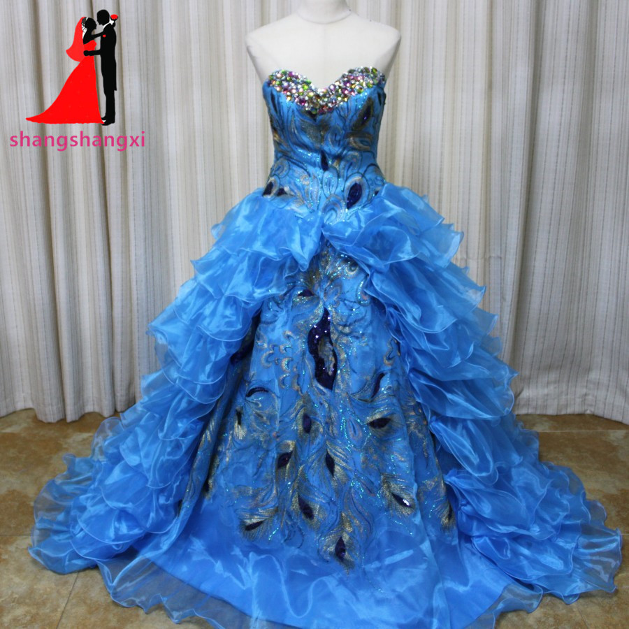 New Ball Gown Peacock Feathers Blue Quinceanera Dresses Sweetheart Ruffles Organza Vestidos De 15 Anos Sweet 16 Dresses