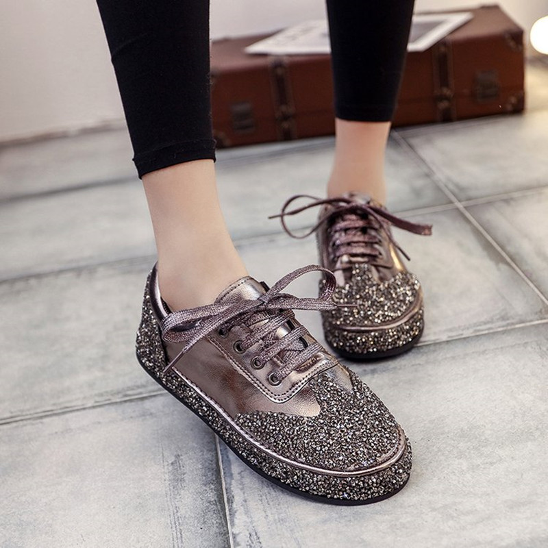 Crystal Women Casual Shoes 2018 Spring New Fashion Bling Women Shoes Comfortable Platform Lace Up Female Shoes