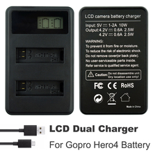 цена на Go Pro Hero4 Charger bateria AHDBT-401 Battery LCD USB Dual Charger For Gopro Hero 4 Batteries Action camera Accessories