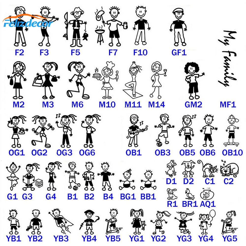 13cm tall Stick Figure My Family People Car Decal Sticker For Car Window Phone Notebook Dad Mom Kids Pattern Cars Stickers L960(China)