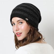 Beanies Women Winter Knit Hat Wool Stripe Slouchy Warm Soft  Autumn Casual Outdoor Ski Skullies Accessory