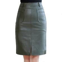 bfe34a7a8d Alta cintura Otoño Invierno PU cuero Mini Faldas Mujer Falda recta corta  más tamaño 5XL bolsillo