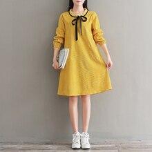 women korean style spring cotton yellow long sleeve Autumn dress sweet bow collar A line loose sweet Corduroy dresses Vintage