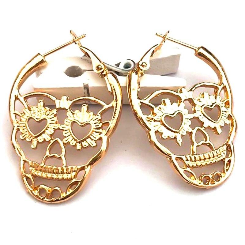 Stud-Earrings Punk Jewelry Steampunk Skull Skeleton Piercing Ear Vintage Gothic Silver-Color