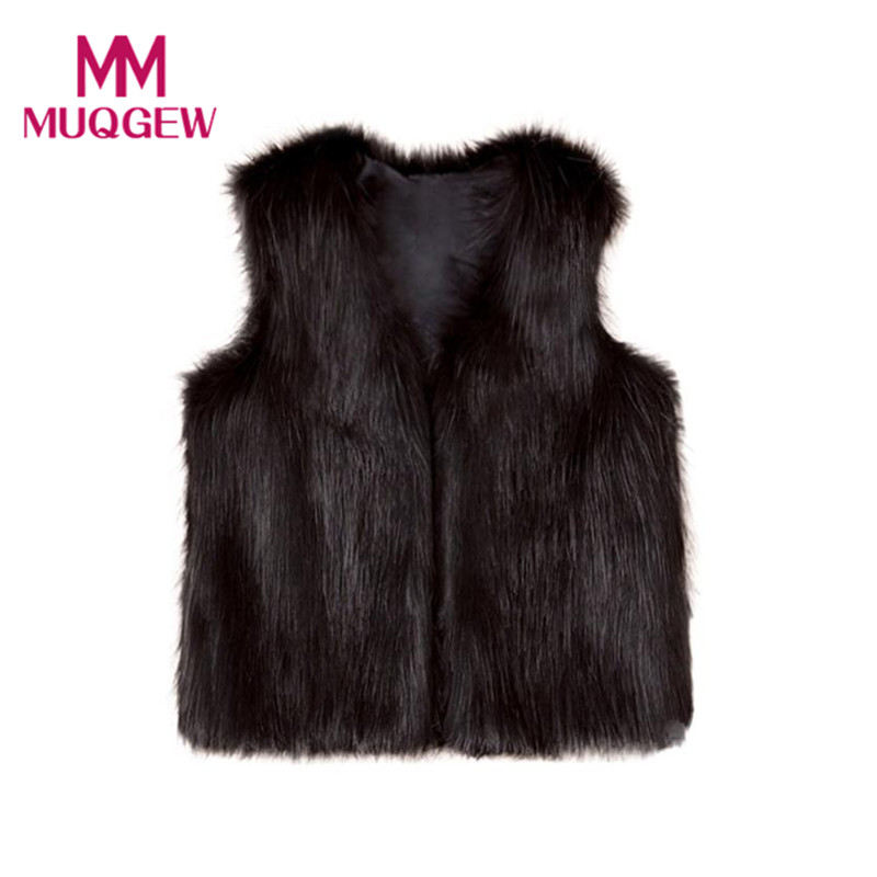 New Arrival Fashion Baby Kids Girls Winter Warm Clothes Faux Fur Waistcoat Sleeveless Black Thick Vest Coat Outwear High Quality