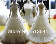 Brand Designe Bandage Wedding Dresses A Line Sccop Neck Beads Pearl Tiered Organza Actual Images dress yk8R038