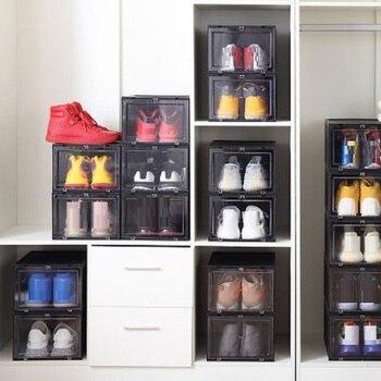 1 шт. обувь комода Штабелируемый ящик коробка для хранения обуви пластиковые выдвижные ящики коробка для обуви утолщенный флип ящик Органай...