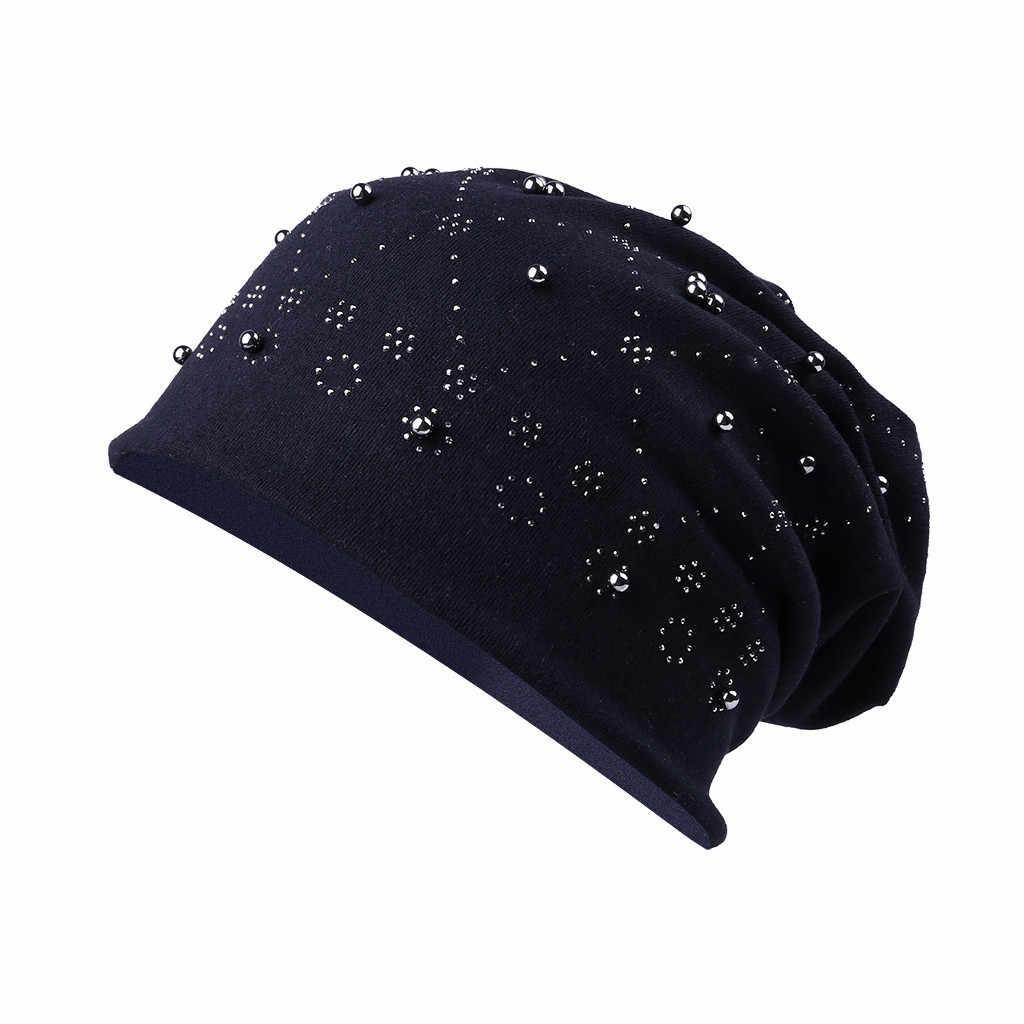 여자의 느슨한 겨울 모자 솔리드 컬러 패션 모자 세련된 아가일 라인 석 니트 모자 캐주얼 소프트 따뜻한 헤드 기어 casquette femme