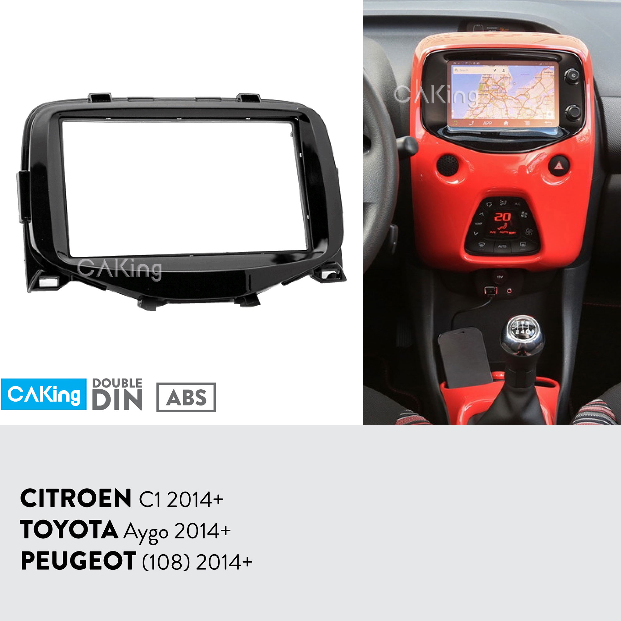 Car Fascia Radio Panel for 2014 Toyota Aygo Peugeot 108 Citroen C1 Dash Kit Install Facia