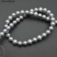 High Quality 9mm 10mm Silver Gray Color Natural Fresh Water Pearl Round Loose Beads