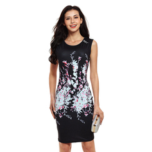Summer Bodycon Dresses Women Elegant Floral Print Dress Ladies Sexy Fitness Sleeveless Black Party Gown Round