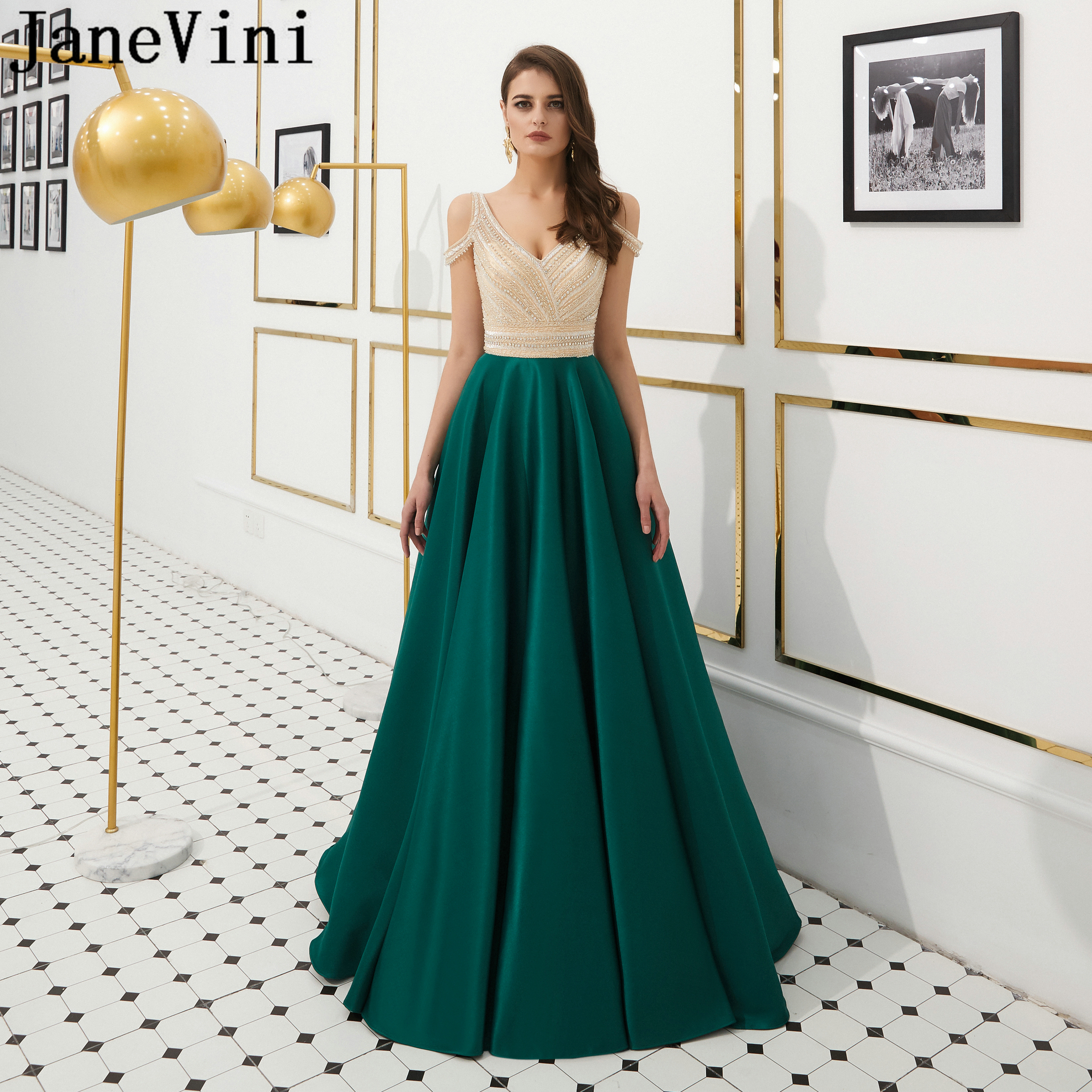 JaneVini Luxury Crystal A Line Dark Green   Evening     Dresses   for Women V Neck Heavy Beaded Sleeveless Satin   Dress   Robe De Soiree