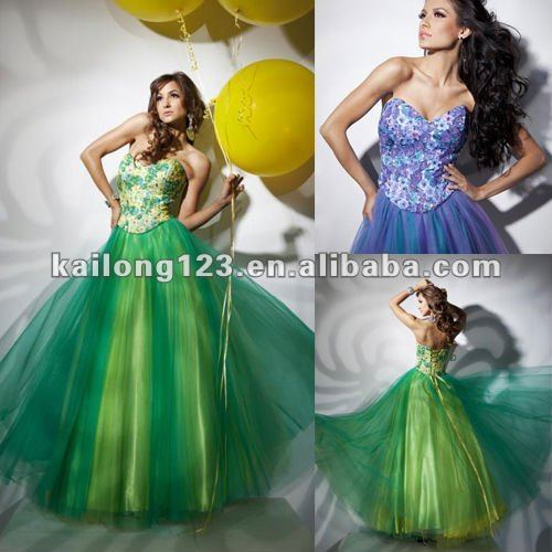 Dynamic Sweetheart Flower Beaded Colored Organza Evening Cheap Ball Gown