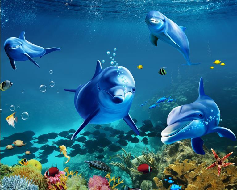 ФОТО self adhesive vinyl wallpaper custom 3d floor tiles 3d stereoscopic Tropical fish dolphin waterproof floor 3d-room-wallpaper