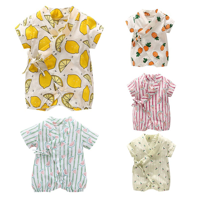 2018 Summer Baby Girls Casual Kimono Little Kids Short-sleeved Fruit Cotton Infants Jumpsuits New-arrival Clothing