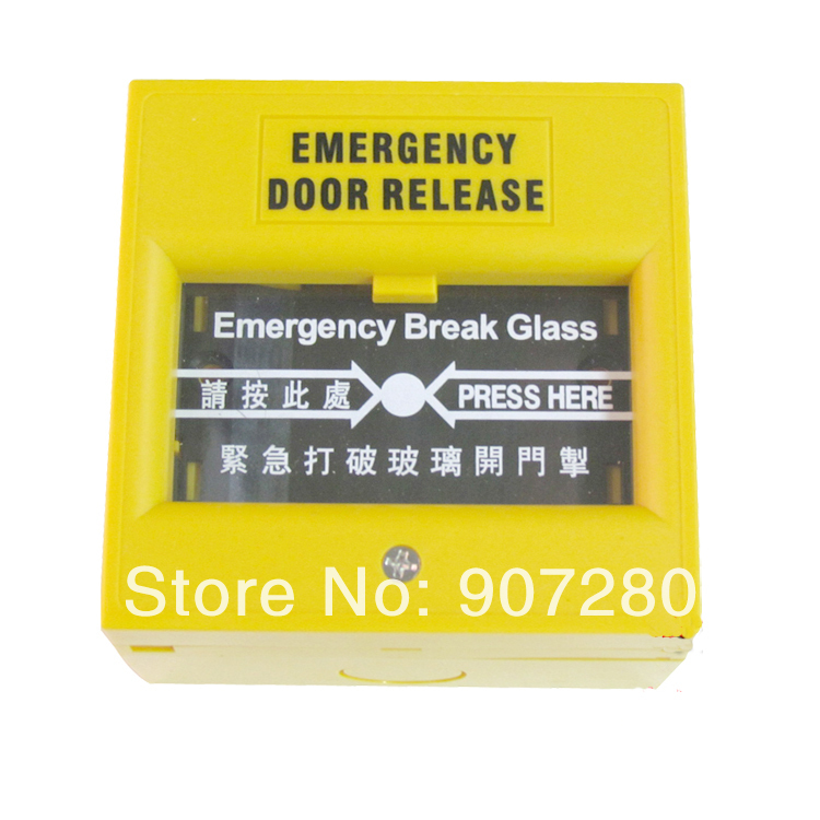 Yellow Color Emergency Break Glass to Release Door Button emergency door release glass break fire alarm button white ac 220v dc 24v