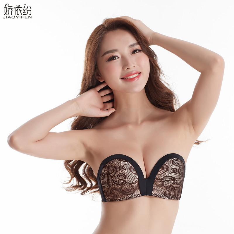 54dfd37b0facc Hot Sale Sexy Invisible Bra Non-Slip Strapless Lace Underwear Half Cup  Gather Together Push Up Bra And BC Cup JYF Brand