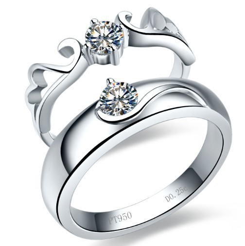 8449d82f21 Angel Wings Diamond Rings for Lovers' Genuine 925 Sterling Silver Platinum  Plated Couple Rings for