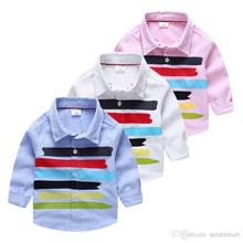 New Cute Kids Boys Fashion Shirts Candy Print Multi Color Long Sleeve Fall Tops Cotton Tees