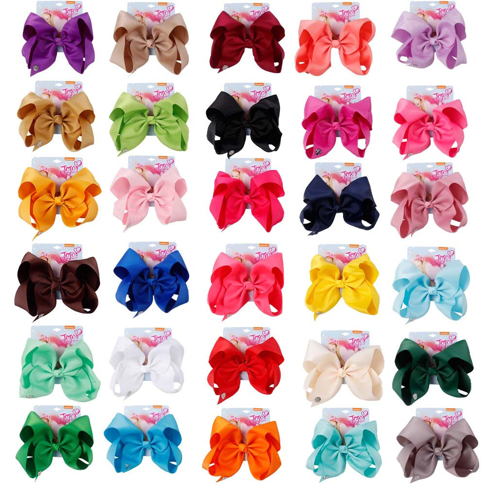 8'' jojo siwa JOJO BOWS for Girls Ribbon Bow With Clips For Kids Hairpins Handmade Bowknot Girls Headwear Hair Accessories
