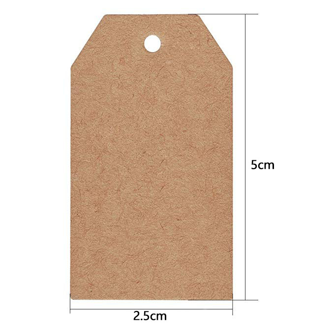 100pcs brown Kraft paper tags with hole for wedding or party decoration gift tags and Packaging Hang Tags is customized labels 2