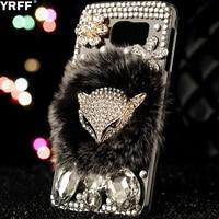 YRFF Fashion Shining Flower Rhinestone Case For Samsung Galaxy S7 Lovely FOX Plush Phone Cover For